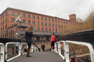Posing for photos on the towpath bridge at Camden lock (the building behind is The Interchange, where the AP are based, hence the satellite dish)_
